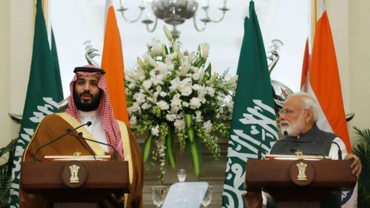 PM Modi with Saudi Crown Prince Mohammed bin Salman during a joint press conference at Hyderabad House in New Delhi