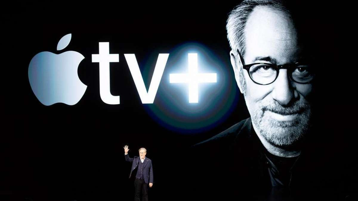 Director Steven Spielberg speaks during an event launching Apple tv+ at Apple headquarters on March 25, 2019, in Cupertino, California.(AFP)