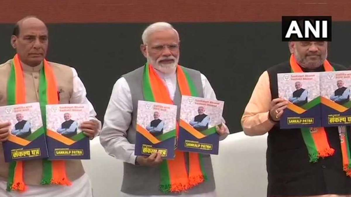 PM Narendra Modi, Amit Shah and Rajnath Singh at BJP poll manifesto launch (Image: ANI Twitter)