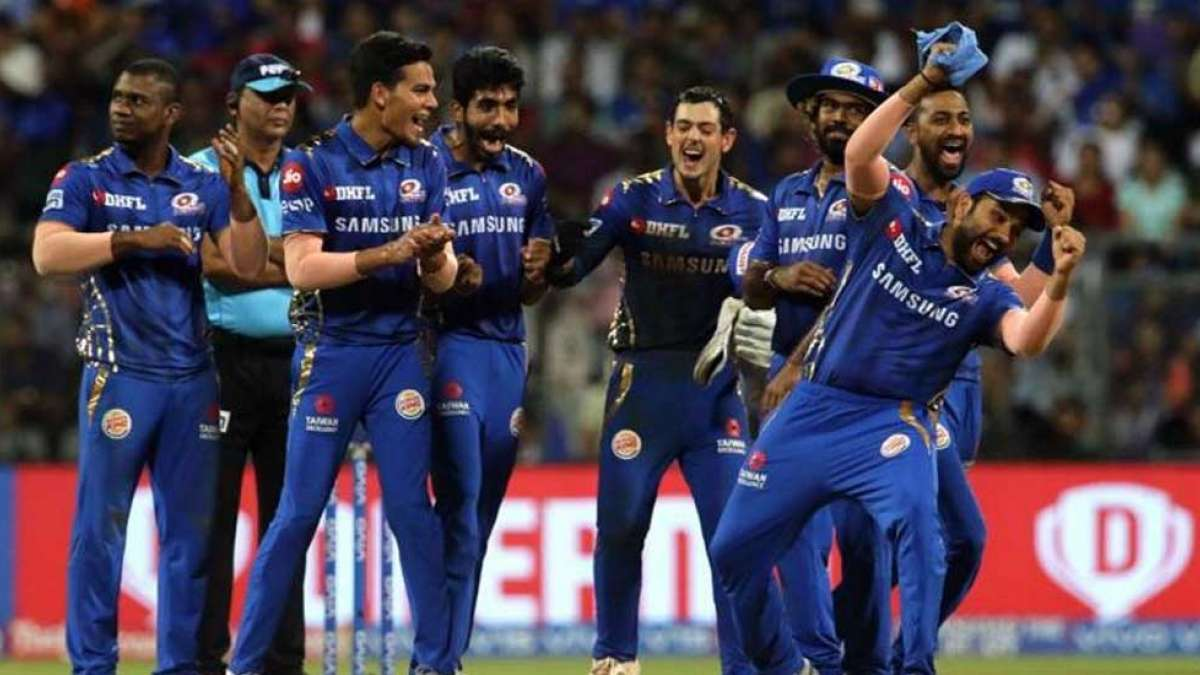 Mumbai Indians team cheering after pulling off super over in style