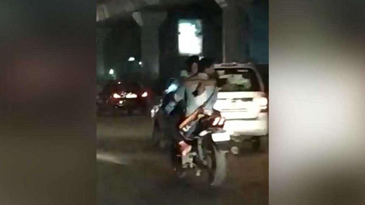Delhi couple PDA on moving bike in Rajouri Garden, video goes viral