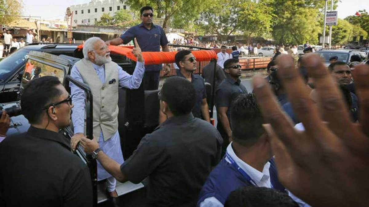 PM Narendra Modi's roadshow after he casted vote in Gujarat
