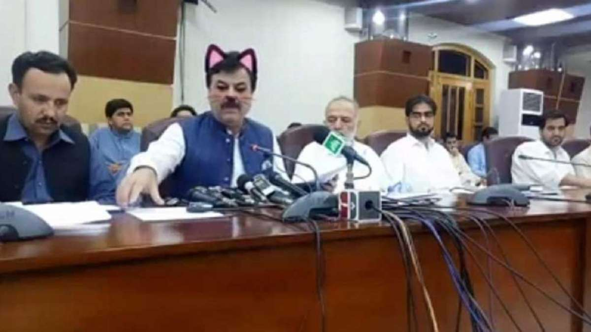 Twitter laughs hard as Pakistan govt live streams presser with cat filter on
