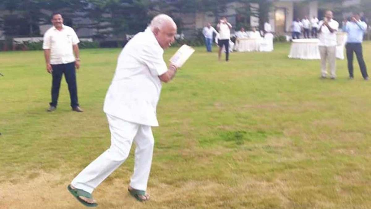 BJP's Yeddyurappa plays cricket with legislators at Bengaluru hotel