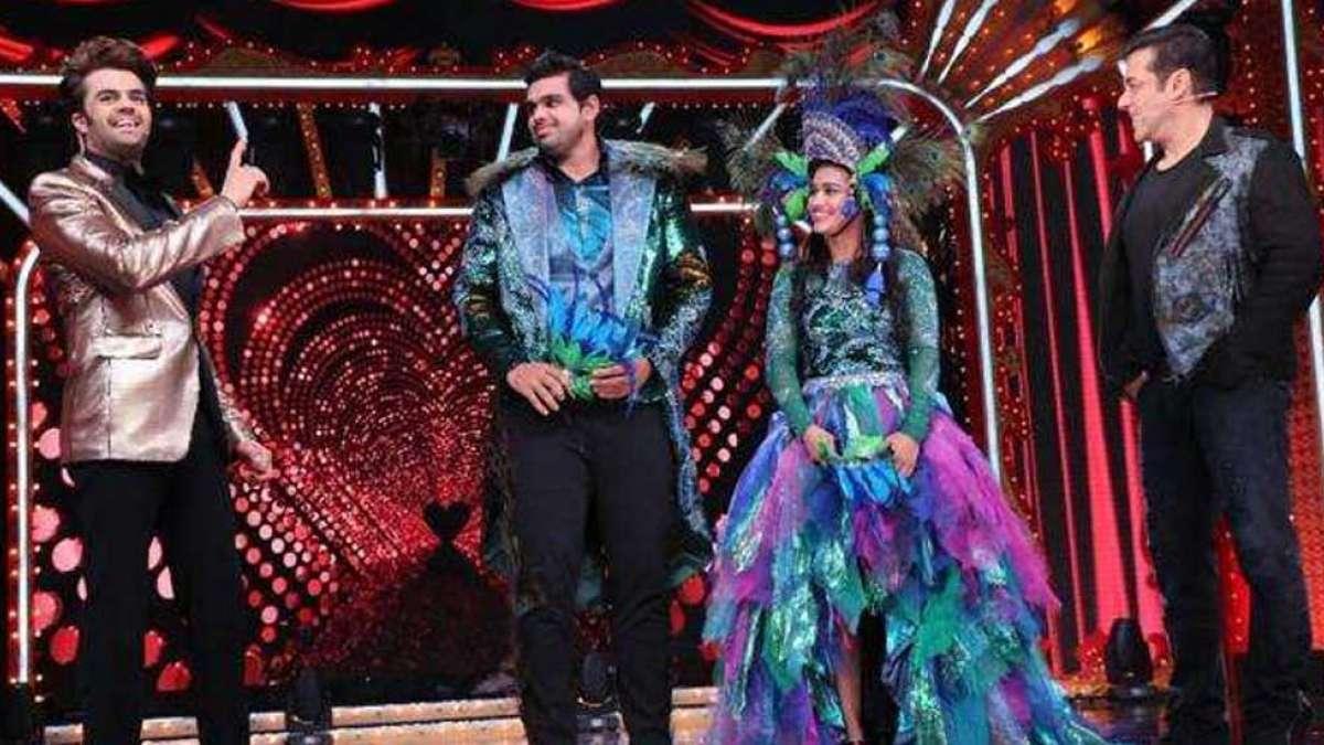 Salman Khan and Manish Paul on the set of Nach Baliye 9