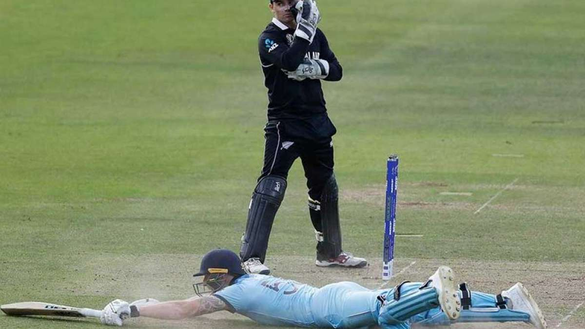 Ben stokes lying on the ground after an overthrow at New Zealand vs England World Cup Final