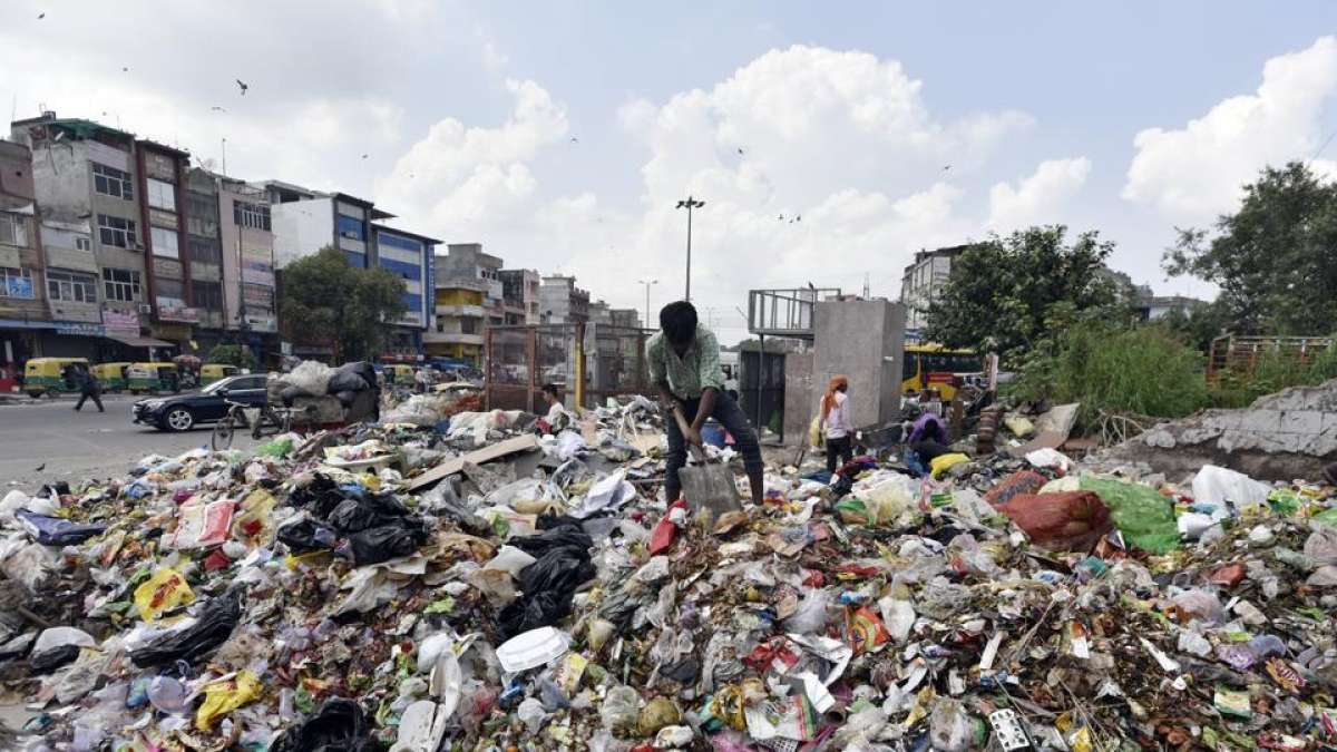 Garbage cleaner cleaning Delhi streets