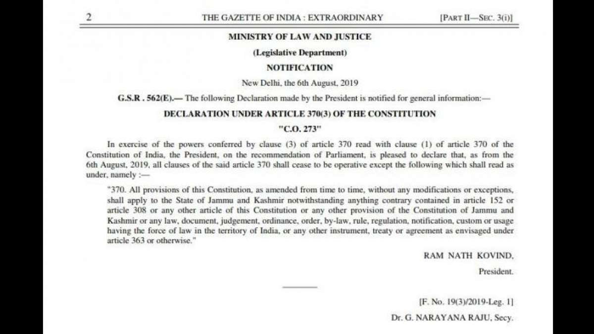 Centre notifies abrogation of Article 370 in J&K