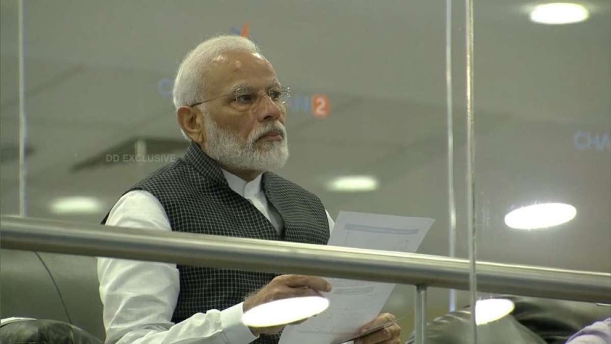 PM Modi addresses scientists at ISRO centre in Bengaluru (Pic: DD News)
