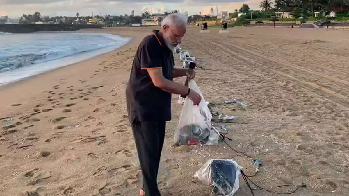 PM Narendra Modi cleans Tamil Nadu beach, shares video