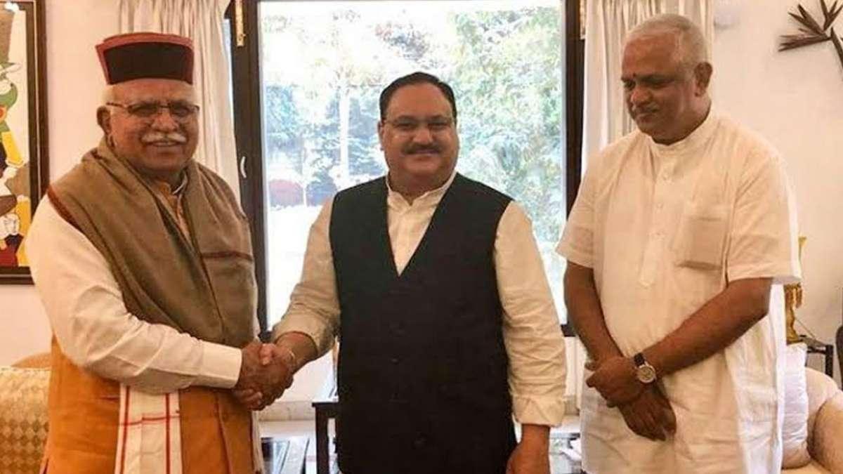 Manohar Lal Khattar meeting JP Nadda